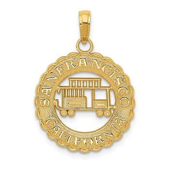 14k San Francisco California Cable Car Pendant