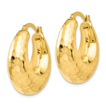 Leslie's 14K Polished and Hammered Hinged Hoop Earrings