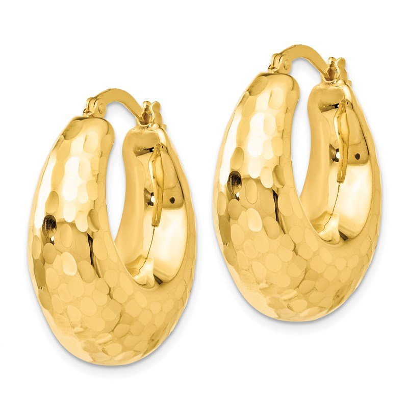 Leslie's Leslie's 14K Polished and Hammered Hinged Hoop Earrings