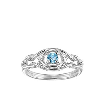 Silver Blue Topaz Ring (Available In all BirthStones)