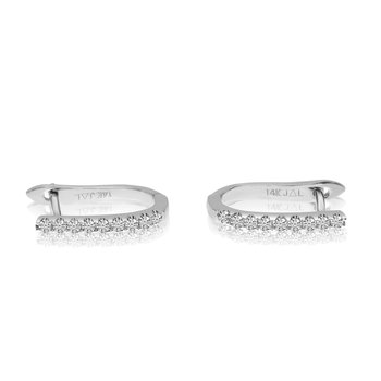 14k White Gold Small Diamond Hoop Earrings