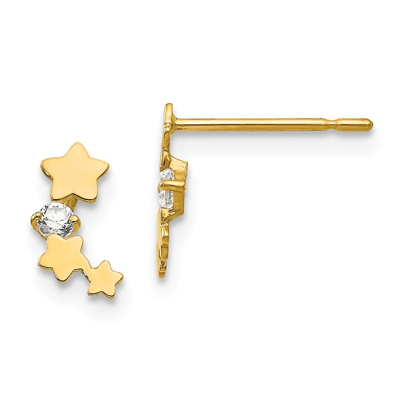 14kt Yellow Gold Madi K Childrens Cross Post Earrings