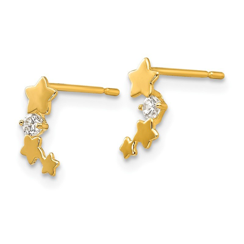 Quality Gold 14k Madi K CZ Children's Star Post Earrings