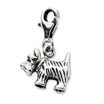 Sterling Silver Amore La Vita Rhodium-pl 3-D Antiqued Scottie Dog Charm