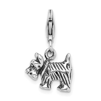 Sterling Silver 3-D Antiqued Scottie Dog w/Lobster Clasp Charm
