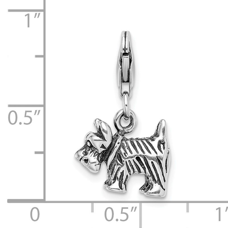 Quality Gold Sterling Silver Amore La Vita Rhodium-pl 3-D Antiqued Scottie Dog Charm