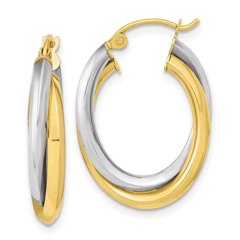 Quality Gold 10k Two-tone Polished Double Oval Hoop Earrings