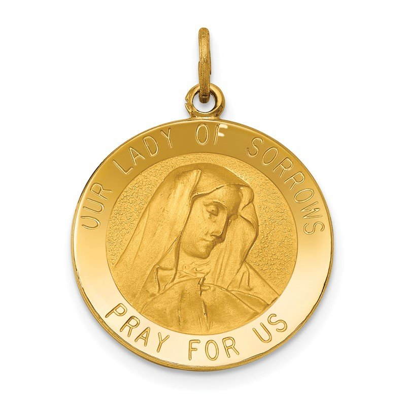 Quality Gold 14k Our Lady of Sorrows Medal Pendant