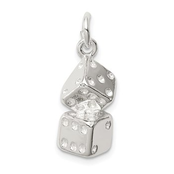 Sterling Silver Large Dice Charm