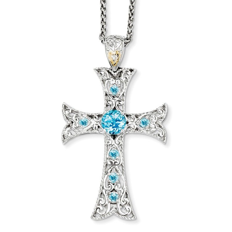 """Shey Couture Sterling Silver w//14k Gold Accent Blue Topaz Cross Necklace 18/"""""""