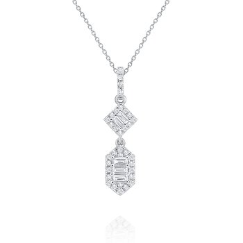Diamond Mosaic Pendant Necklace Set in 14 Kt. White Gold