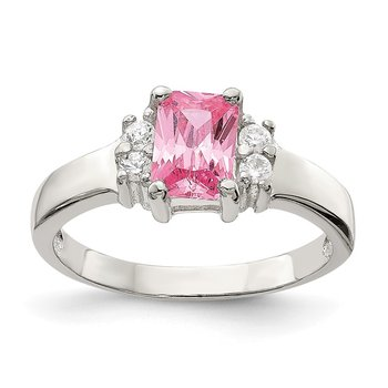 Sterling Silver Pink & White CZ Ring