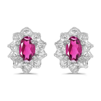 10k White Gold 5x3 mm Genuine Pink Topaz And Diamond Earrings