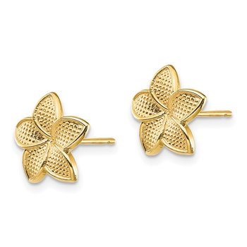14K Polished & Textured Plumeria Post Earrings