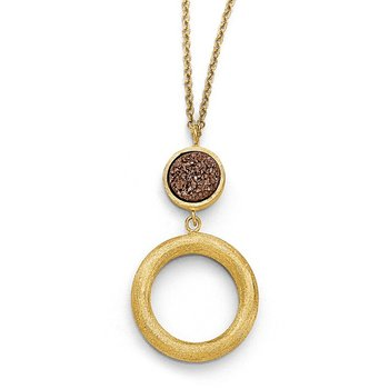 Leslie's 14k Brown Druzy Scratch-finish Necklace