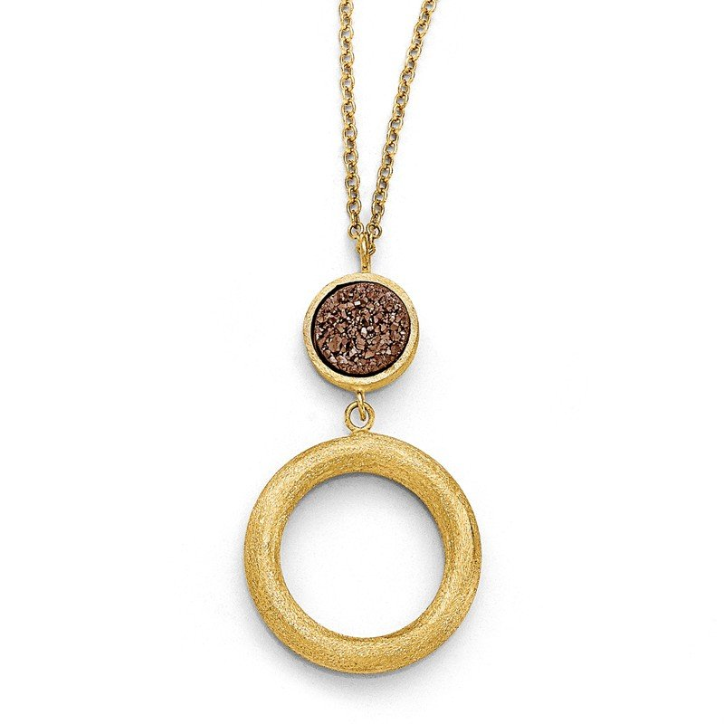 Leslie's Leslie's 14k Brown Druzy Scratch-finish Necklace