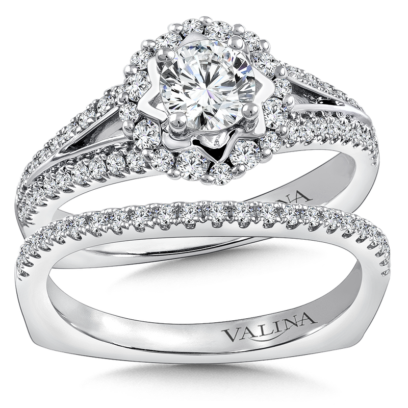 Valina Bridals Halo Engagement Ring Mounting in 14K White Gold (.41 ct. tw.)