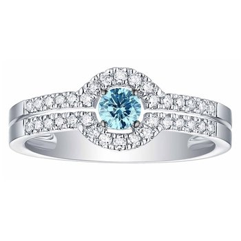 Smiling Rocks 0.45Ct Lab Grown Blue Color Diamond with G-H/VS1 Side Diamond Solitaire Ring