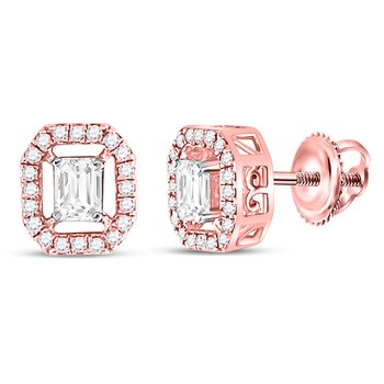 14kt Rose Gold Womens Emerald Diamond Octagon Frame Stud Earrings 1/2 Cttw