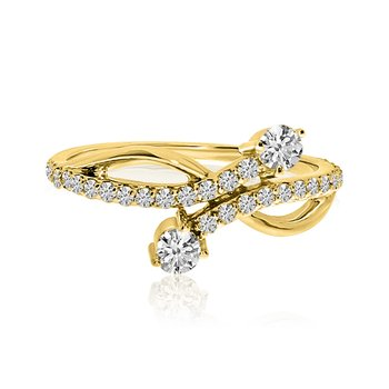 14K Yellow Gold Offset Two-Stone Diamond Ring