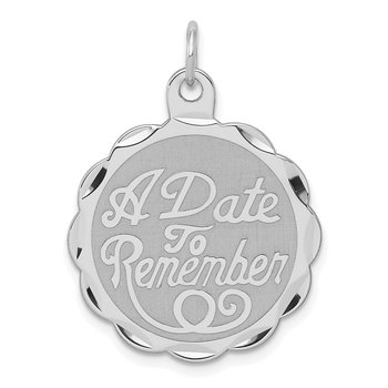 Sterling Silver Rhodium-plated A Date To Remember Disc Charm