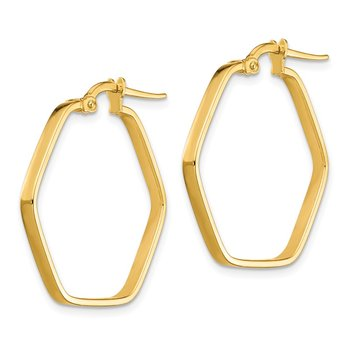 14K 2x1mm Square Tube Hexagon Hoop Earrings