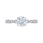 Carizza 14K White Gold Round Diamond Floral Engagement Ring (Semi-Mount)