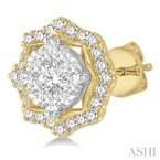 ASHI flower shape lovebright diamond earrings