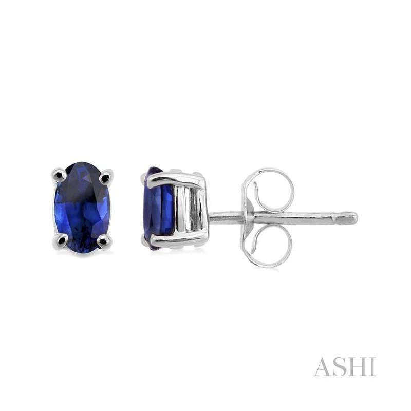 ASHI oval shape stud gemstone earrings
