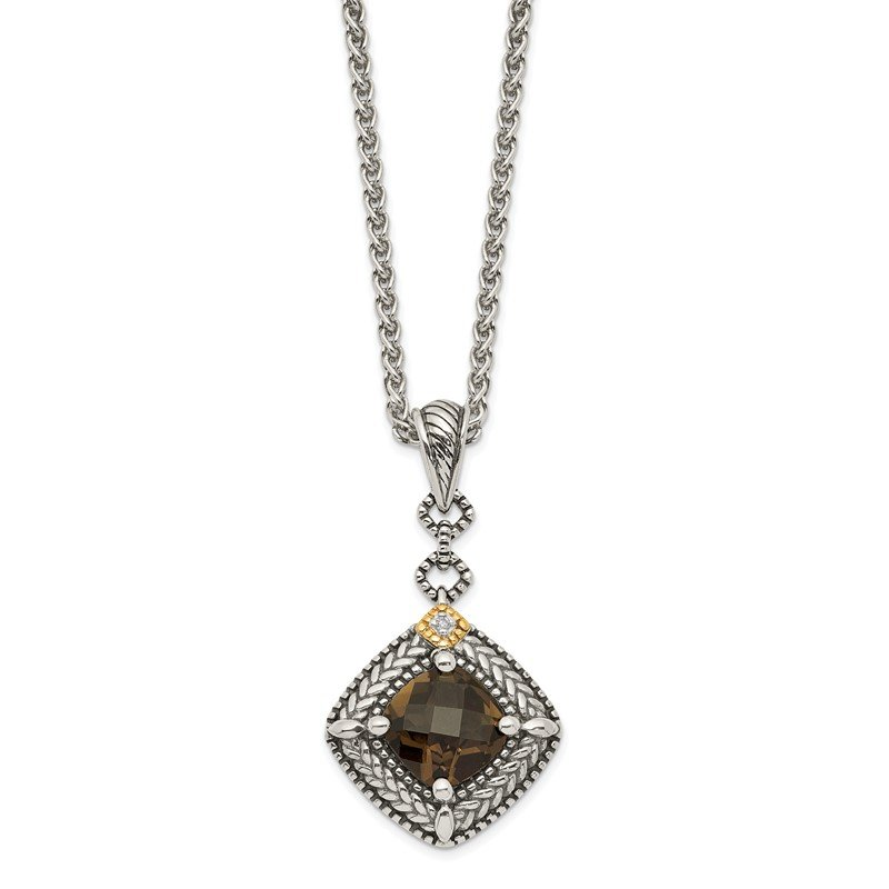 Arizona Diamond Center Collection Sterling Silver w/ 14K Accent Smoky Quartz & Diamond Dangle Necklace