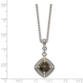 Sterling Silver w/ 14K Accent Smoky Quartz & Diamond Dangle Necklace