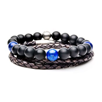 Onyx/Lapiz and Grey Leather Stackable Bracelets