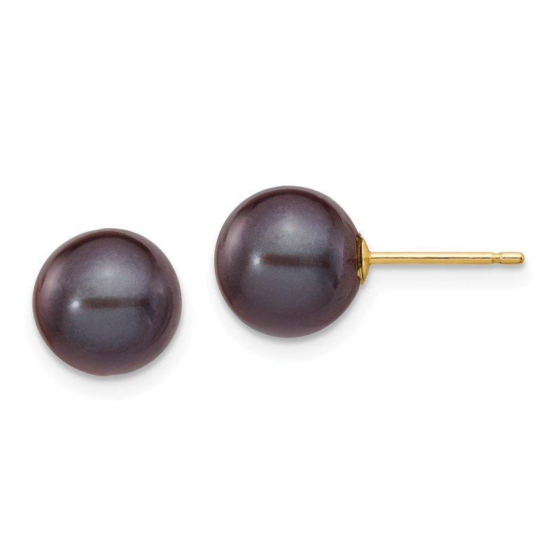Quality Gold 14k 8-9mm Black Round Freshwater Cultured Pearl Stud Post Earrings