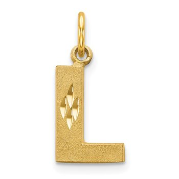 14KY Satin Diamond-cut Letter L Initial Charm