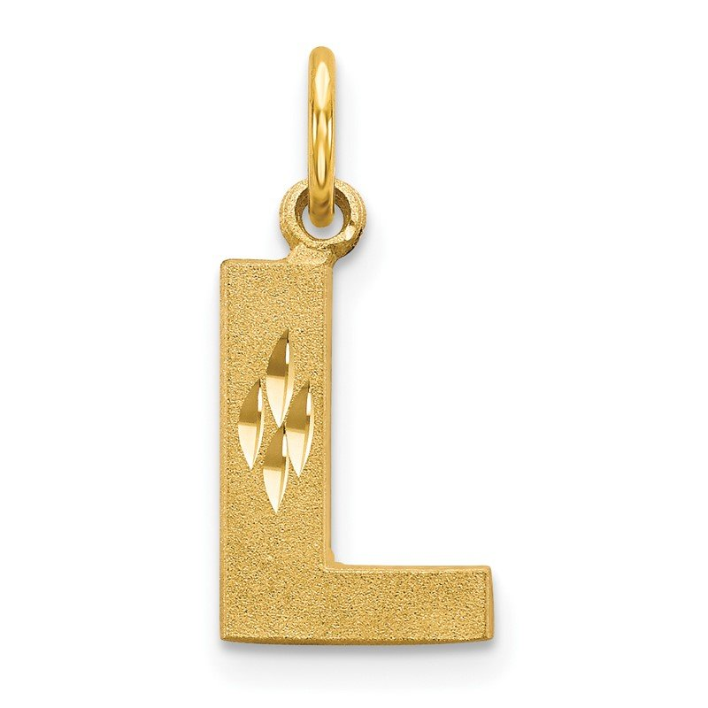 Quality Gold 14KY Satin Diamond-cut Letter L Initial Charm