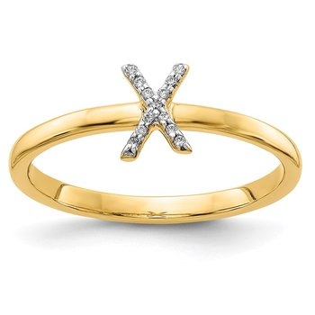 14k White Gold Diamond Initial X Ring