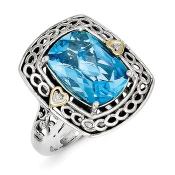Sterling Silver w/14k Diamond & Blue Topaz Ring