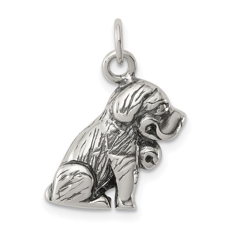 Quality Gold Sterling Silver Antique St. Bernard Charm