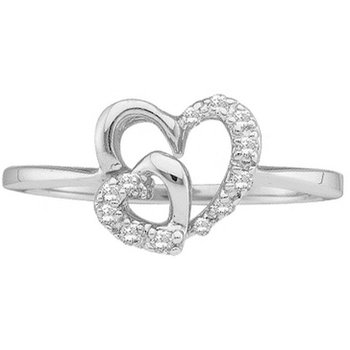 10kt White Gold Womens Round Diamond Double Heart Ring 1/10 Cttw