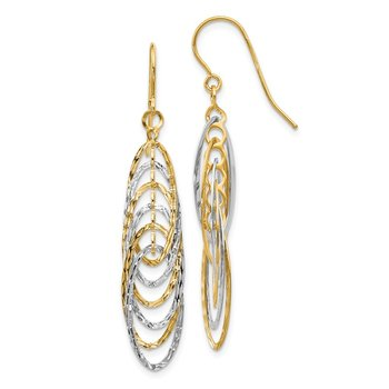 Leslie's 14K Two-tone Polished and Textured Shepherd Hook Earrings