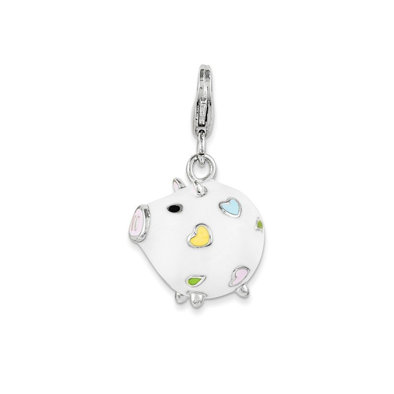 Quality Gold Sterling Silver Enamel Round Piggy w/ Lobster Clasp Charm