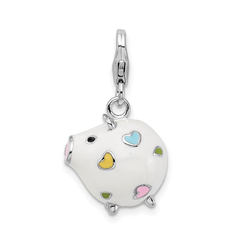 Quality Gold Sterling Silver RH w/ Lobster Clasp Enamel Round Piggy Charm