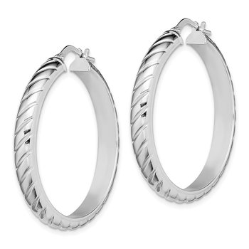 Sterling Silver Rhodium-plated 5x30mm Polished Textured Hoops