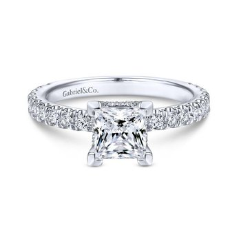 14K White Gold Hidden Halo Princess Cut Diamond Engagement Ring
