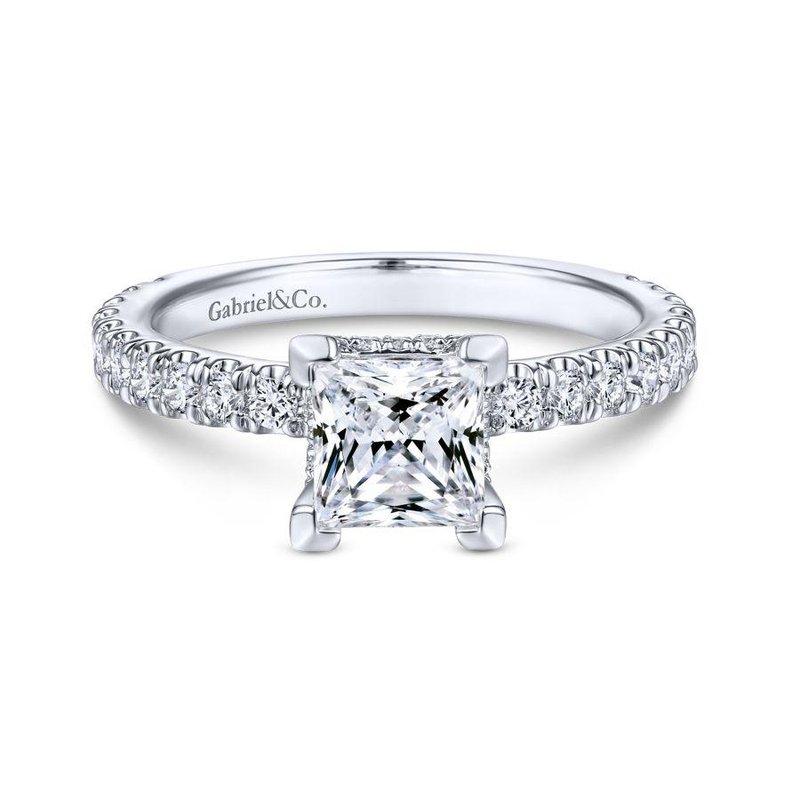 Gabriel Bridal 14k White Gold Hidden Halo Princess Cut Diamond Engagement Ring Park Place Jewelers