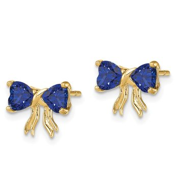 14k Gold Polished Created Sapphire Bow Post Earrings