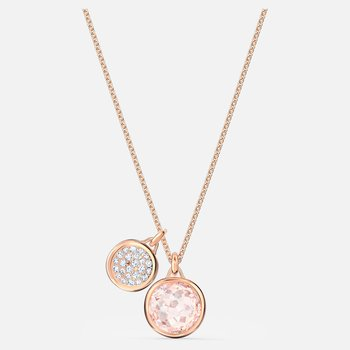 Tahlia Double Pendant, Pink, Rose-gold tone plated