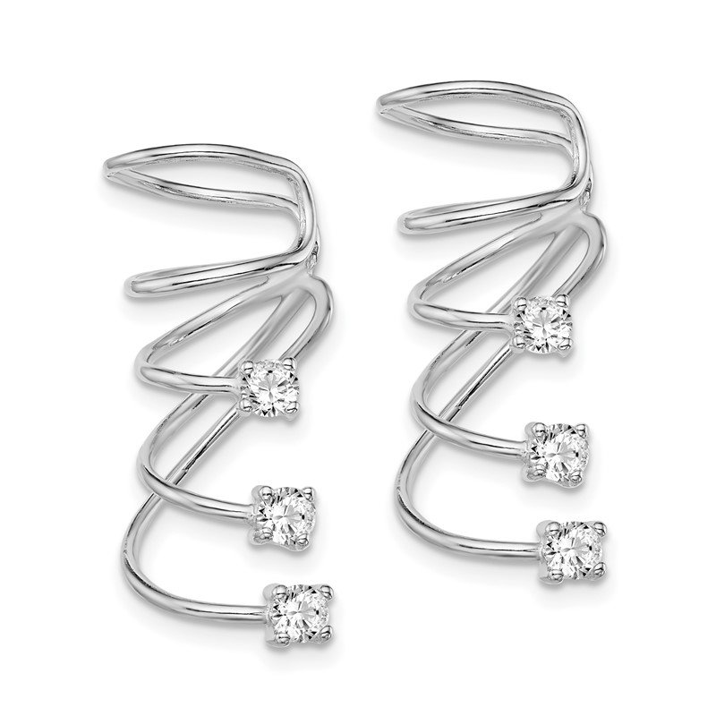 Quality Gold Sterling Silver Rhodium-plated CZ Cuff Earrings