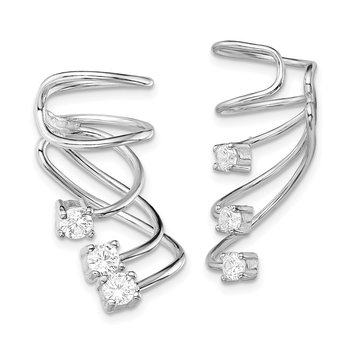 Sterling Silver Rhodium-plated CZ Cuff Earrings