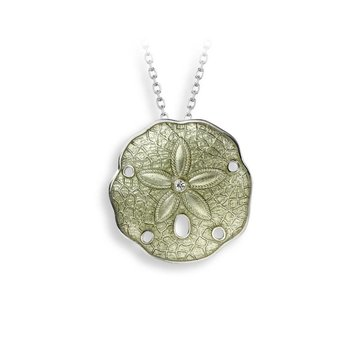 Green Sand Dollar Necklace.Sterling Silver-White Sapphire